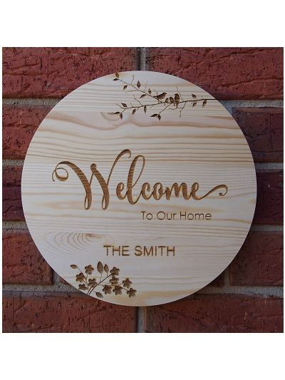 Personalised Engraved Solid Pine Wooden Decoration - Round shape dia 30cm, thickness 1cm- Housewarming gift - Christmas gift - Welcome to our home