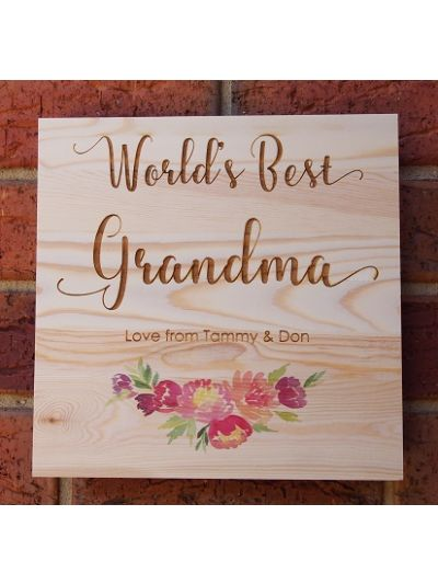 Personalised Solid Pine Wooden Decoration, square shape 25x25x1.2cm - World's Best Grandma
